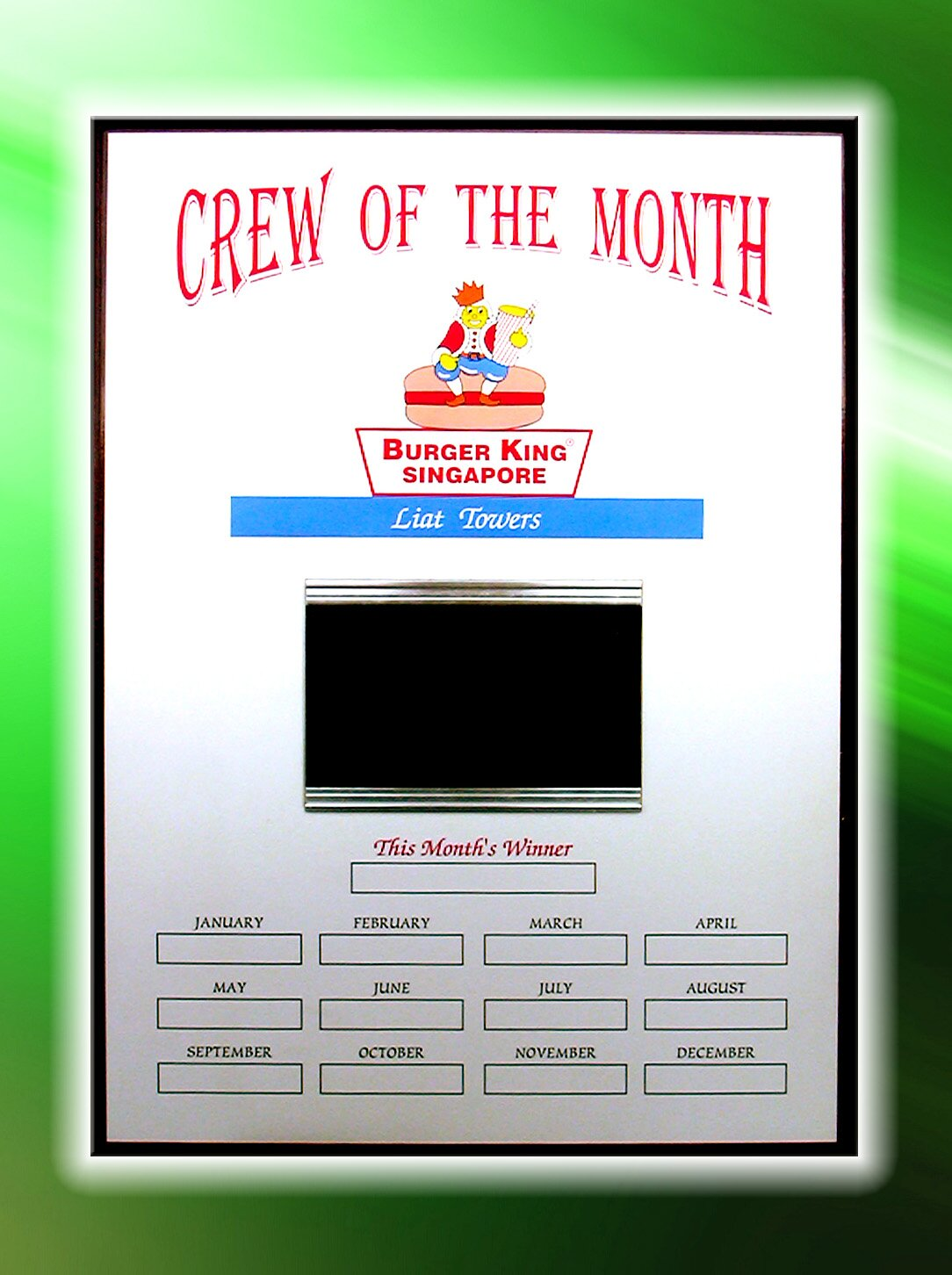 Crew Of The Month Plaque